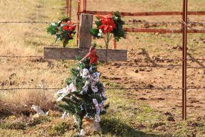 Grave marker w/ xmas tree